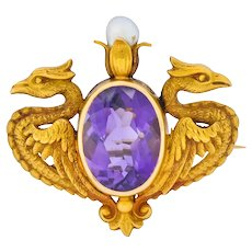 Carter & Gough Art Nouveau Amethyst Pearl 14 Karat Gold Winged Basilisk Brooch Circa 1900