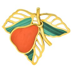 Tiffany & Co. Coral Malachite Mother-of-Pearl 18 Karat Gold Pear Brooch