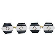 1920's Art Deco Diamond Onyx Platinum 18 Karat Gold Men's Cufflinks