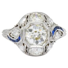 Art Deco 2.38 CTW Diamond Sapphire Platinum Dinner Alternative Ring