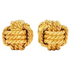 Tiffany & Co. Larter & Sons Mid-Century 14 Karat Gold Men's Knot Cufflinks