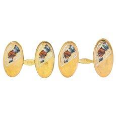 1890's Victorian Enamel 10 Karat Gold Beagle Dog Men's Cufflinks