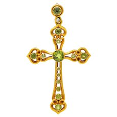 Unisex Victorian Peridot Diamond 14 Karat Gold Celtic Cross Pendant