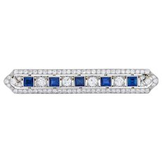 Tiffany & Co. Art Deco 5.04 CTW Sapphire Diamond Platinum Bar Brooch Circa 1930