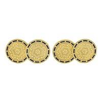 Wordley, Allsop & Bliss Enamel 14 Karat Gold Disk Men's Deco Cufflinks