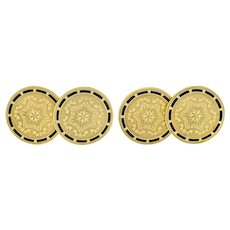 Wordley, Allsop & Bliss Enamel 14 Karat Gold Disk Men's Deco Cufflinks