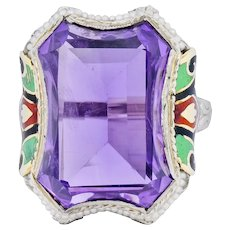 1930's Art Deco Amethyst Enamel Pearl 14 Karat Two-Tone Gold Cocktail Ring