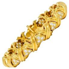 Tiffany & Co. 3.92 CTW Diamond 18 Karat Gold Signature X Link Bracelet