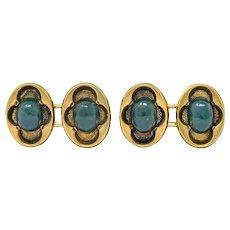 Victorian Bloodstone 14 Karat Gold Clover Men's Cufflinks Circa 1900