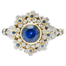 Edwardian 1.85 CTW No Heat Sapphire Diamond Platinum 18 Karat Gold Floral Cluster Ring GIA