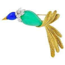 1970's Diamond Blue Agate Chrysoprase Platinum 18 Karat Gold Bird Brooch