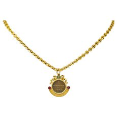 Victorian 14 Karat Yellow Gold Ancient Coin Paste Necklace