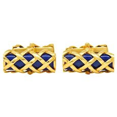 Tiffany & Co. Vintage 1970's Enamel 18 Karat Gold Men's Lattice Cufflinks