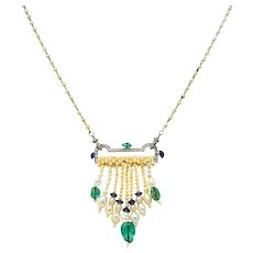 French Art Deco Diamond Natural Pearl Emerald Sapphire Platinum Sautoir Necklace