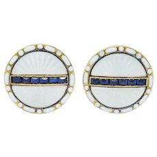 T. & J. Bragg British Art Deco Sapphire Enamel 15 Karat Gold Men's Cufflinks