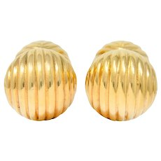 Tiffany & Co. 1960's Vintage 14 Karat Gold Ridged Ball Men's Cufflinks