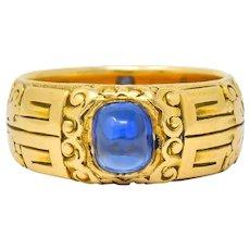 Tiffany & Co. Art Nouveau 1.40 CTW No Heat Kashmir Sapphire 18 Karat Gold Cabochon Ring AGL