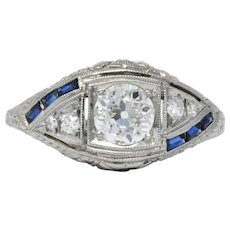 Art Deco 0.60 CTW Diamond Sapphire Platinum Floral Engagement Ring