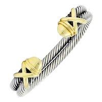David Yurman 14 Karat Gold Sterling Silver Double Row Cable Cuff Bracelet