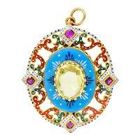 Renaissance Revival Chrysoberyl Ruby Enamel 14 Karat Gold Italian Pendant