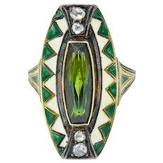 Marie Zimmermann Arts & Crafts Tourmaline Diamond Enamel 14 Karat Green Gold Dinner Ring