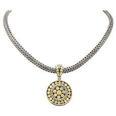 John Hardy 18 Karat Gold Sterling Silver Dot Enhancer Pendant Necklace