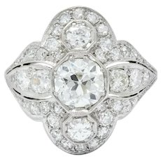 Edwardian 2.60 CTW Old European Diamond Platinum Quatrefoil Dinner Ring