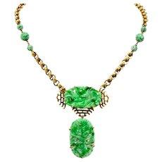 Walter Lampl Retro Jade 14 Karat Yellow Gold Drop Necklace