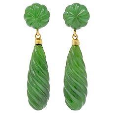Retro Carved Jade 14 Karat Gold Swirl Drop Earrings