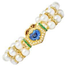 Vintage 35.50 CTW Sapphire Emerald Diamond Pearl 18 Karat Gold Heart Bracelet