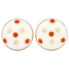 Trianon Vintage Coral Diamond 14 Karat Gold Round Earrings Circa 1990's