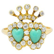 Edwardian Old European Diamond Turquoise 18 Karat Gold Double Heart Cluster Ring
