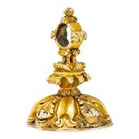 1900's Victorian Bloodstone Intaglio 14 Karat Gold Pheasant Fob Pendant