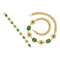 Tiffany & Co. Retro 60.00 CTW Tourmaline 14 Karat Gold Floral Link Bracelet Necklace Set