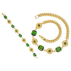 Tiffany & Co. Retro 60.00 CTW Tourmaline 14 Karat Gold Floral Link Bracelet Necklace Set