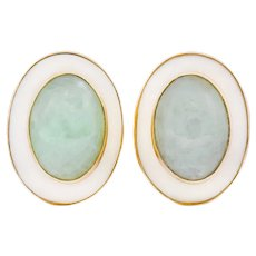 Vintage 1990's Jade Coral Cabochon 14 Karat Gold Earrings