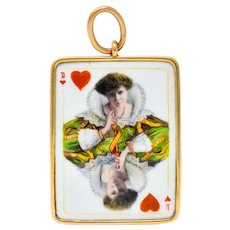 Substantial French Victorian Enamel 14 Karat Yellow Gold Queen Playing Card Pendant