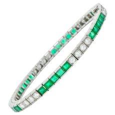 Mid-Century 6.06 CTW Diamond Emerald Platinum Unisex Tennis Line Bracelet