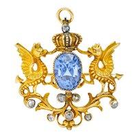Art Nouveau 6.75 CTW No Heat Ceylon Sapphire 14 Karat Gold Dragon Pendant Brooch GIA