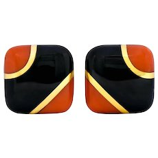 Vintage Onyx Coral 18 Karat Gold Square Cushion Inlay Earrings