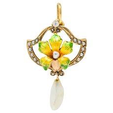 Art Nouveau Enamel Pearl Diamond 14 Karat Gold Lily Flower Pendant