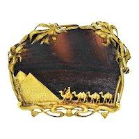 F. Walter Lawrence & Gustav Manz Phoenician Glass 14 Karat Gold Egyptian Revival Desert Brooch Circa 1901