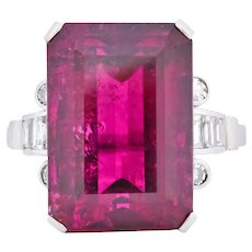 Retro 22.15 CTW Rubellite Tourmaline Diamond 18 Karat White Gold Cocktail Ring