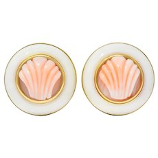 1990s Vintage Coral 14 Karat Gold Circular Shell Earrings
