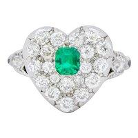 Tiffany & Co. Edwardian 1.54 CTW Emerald Diamond Platinum-Topped 18 Karat Gold Heart Cluster Ring
