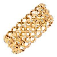 Boucheron Paris Retro 2.65 CTW Diamond Platinum-Topped 18 Karat Rose Gold Bracelet