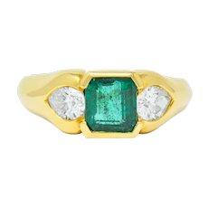 Vintage 1.90 CTW Emerald Diamond 18 Karat Gold Three Stone Ring