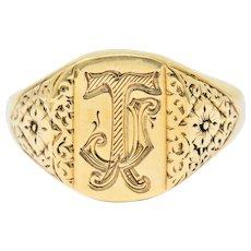 Vintage 9 Karat Yellow Gold British Signet Unisex Monogram Ring