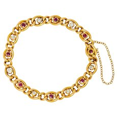 1890s Victorian 1.52 CTW Ruby Diamond 15 Karat Gold Link Bracelet