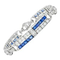 Art Deco 9.50 CTW Diamond Sapphire Platinum Geometric Linked Line Bracelet